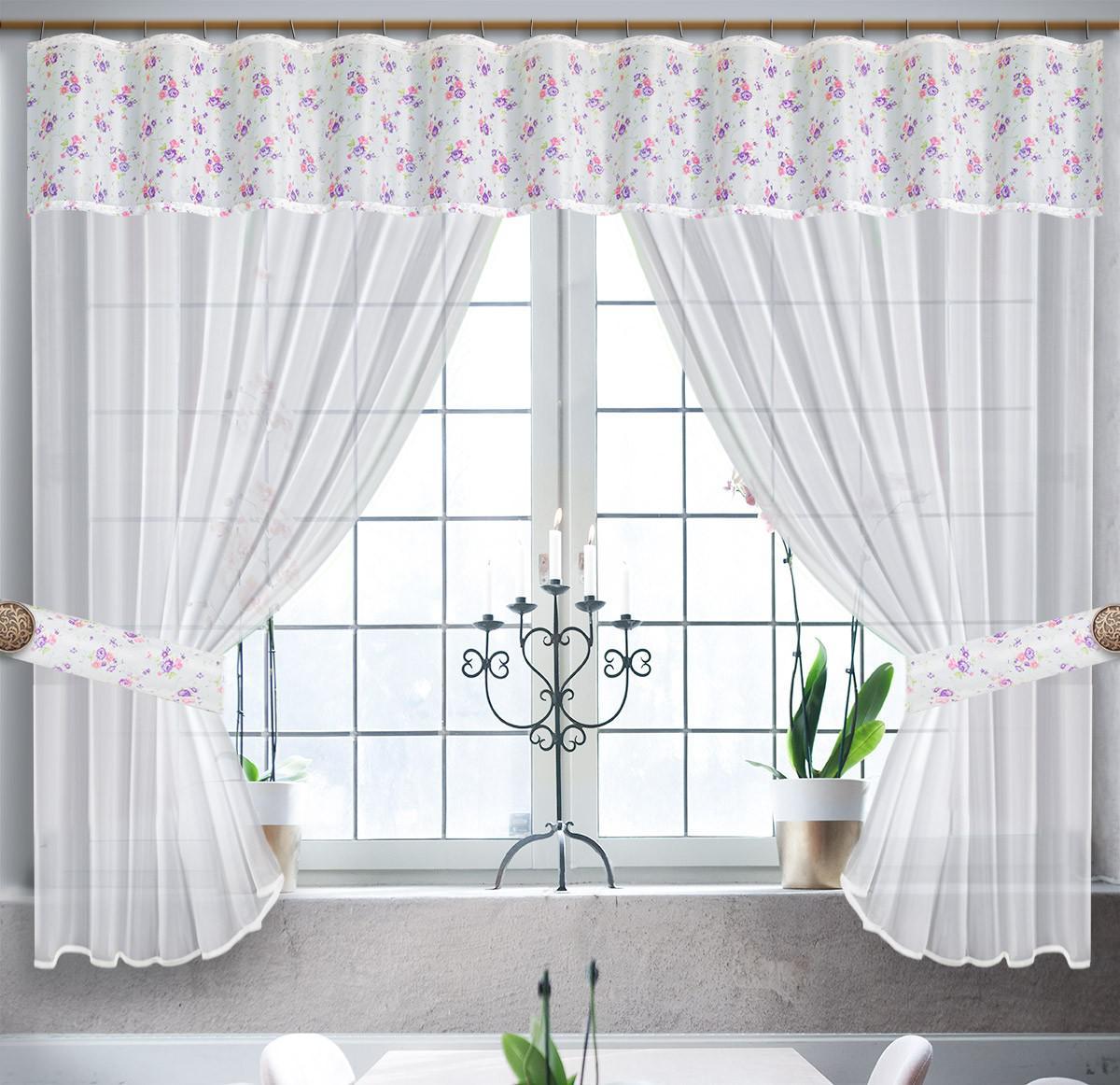 0028/БФ, ФЛОРАНС, комплект из вуали , цвет бело-фиолетовый,  размеры 300 см ширина, 180 см высота,  состоит из 3-х деталей. подхваты входят в комплектицию