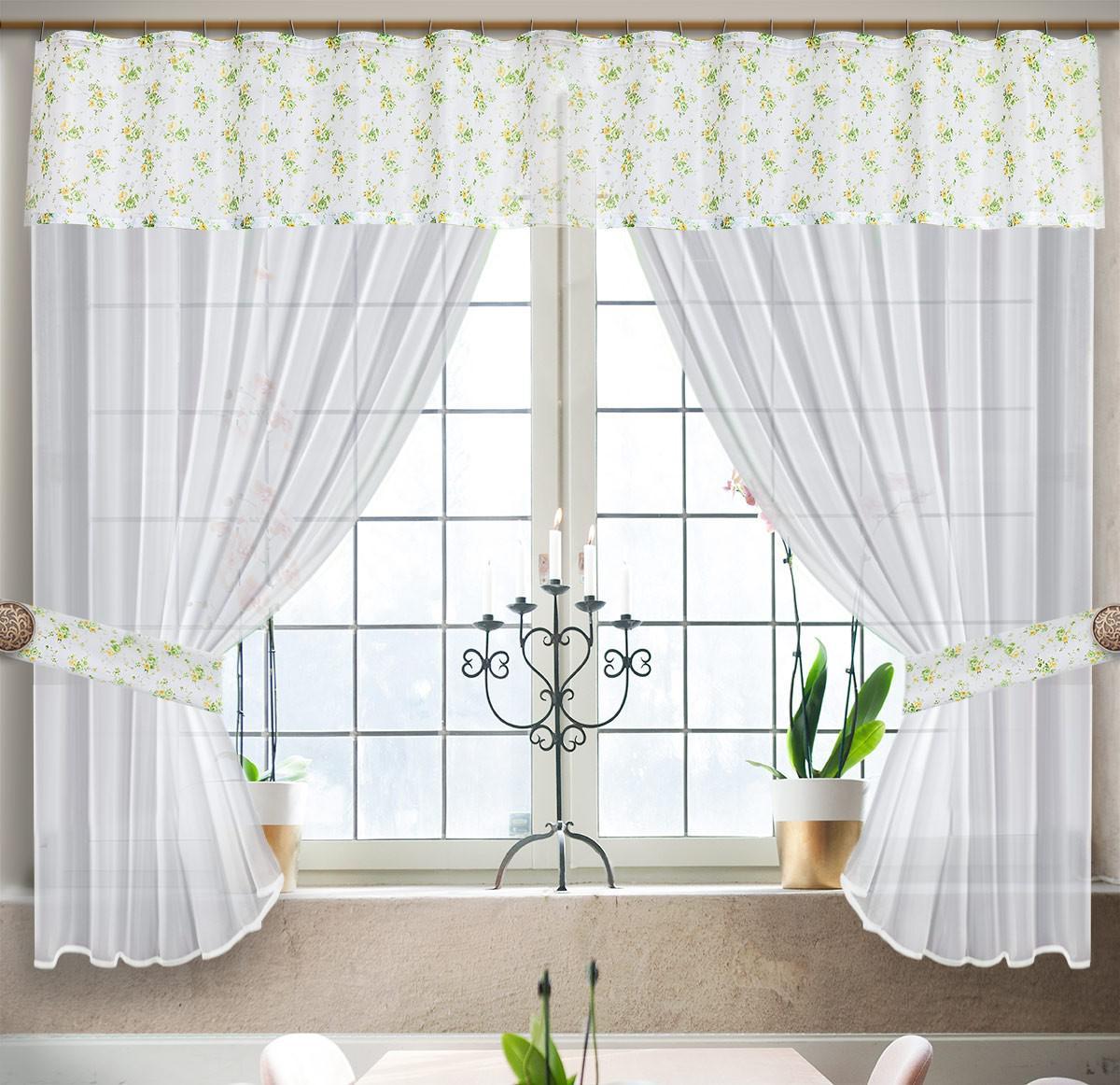 0028/БЗ, ФЛОРАНС, комплект из вуали , цвет бело-зеленый,  размеры 300 см ширина, 180 см высота,  состоит из 3-х деталей. подхваты входят в комплектицию