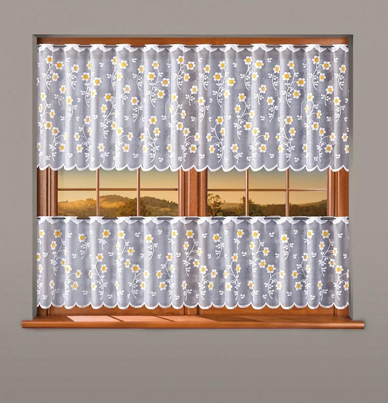618282/70/50, (STOKROTKI) Маргаритки, КОМПЛЕКТ для кухни из двух шторок, высота верхней  шторы  70 см, нижней 50 см, ширина 200 см. Сверху штор - прорези для продевания гардинной штанги диаметром до 2 см.