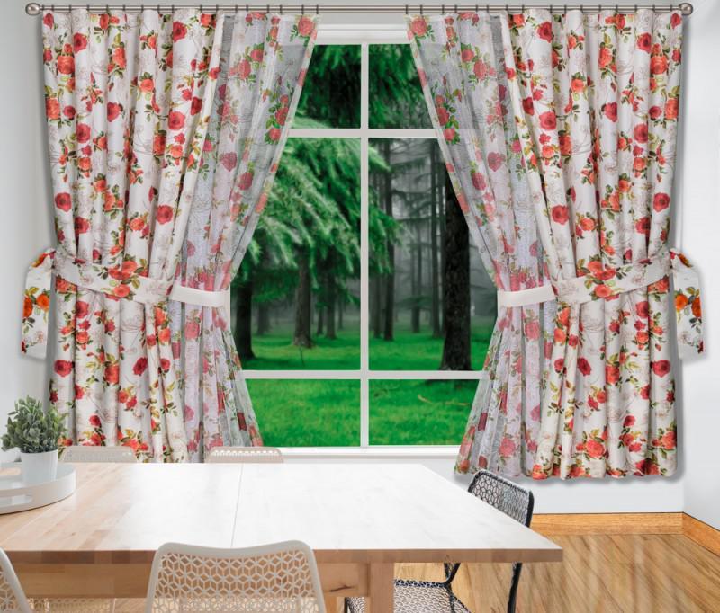 240240_1035/170, ТЕРРАКОТОВЫЕ РОЗЫ, комплект для кухни из легкой и тефлоновой ткани, размер: (150 см ширина х 170 см высота ) х 4, с подхватками