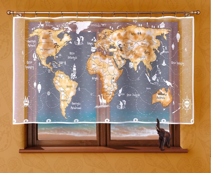 208 Е, Mapa (Карта), размеры: 215 см ширина * 120 см высота, пошита на универсальной шторной ленте