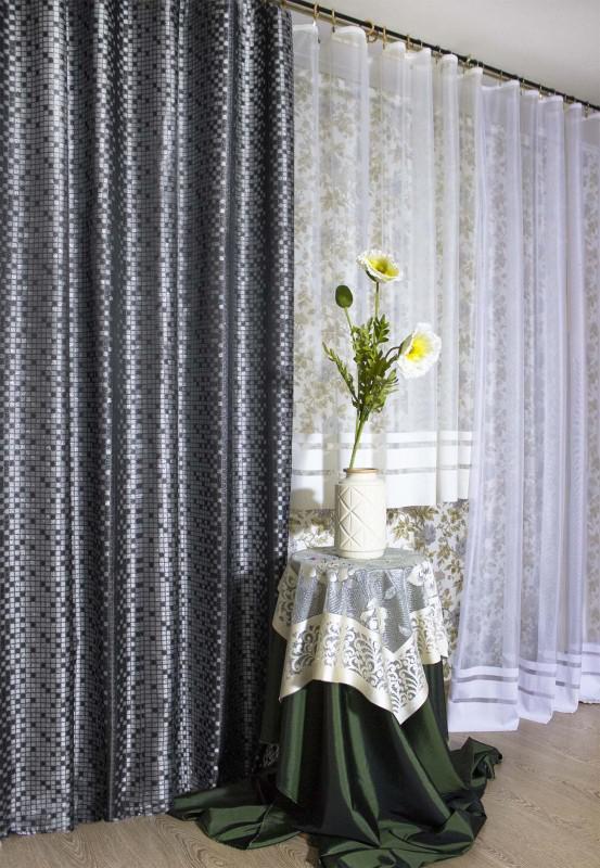 4812а-П, парча КВАДРАТЫ, цвет - серебро-серо-черный, ширина 185 см