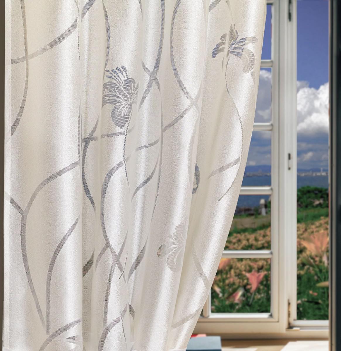 325940/155, ЛИЛИЯ, жаккард молочного цвета с  вытканным рисунком, ширина 155 си