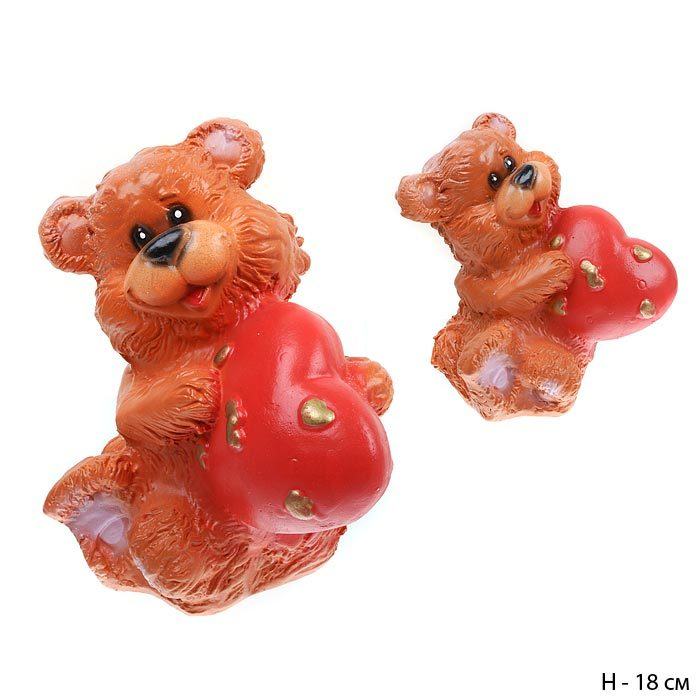 Копилка Медведь с сердцем коричневый 16 см / 801176 / без упаковки