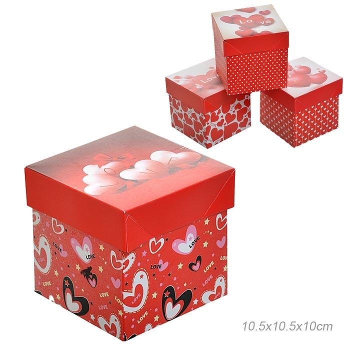 Коробка подарочная 10х10х10 см С любовью / 006-S /уп 12/1500/складная ПРОМО АКЦИЯ