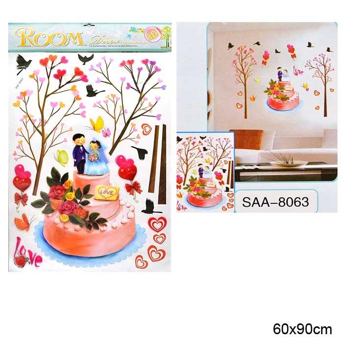 Наклейка 3D интерьерная 60х90 см Любовь / SAA-8063 /