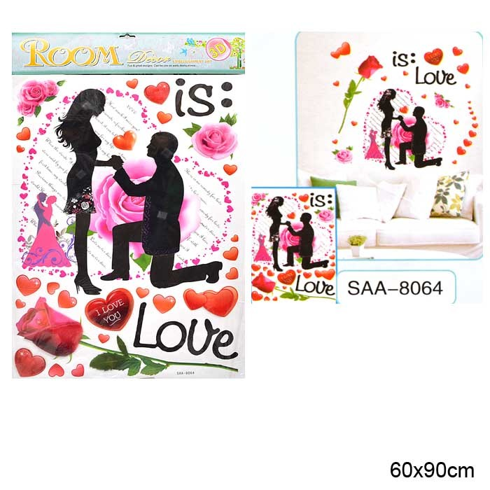 Наклейка 3D интерьерная 60х90 см Признание в любви / SAA-8064 /