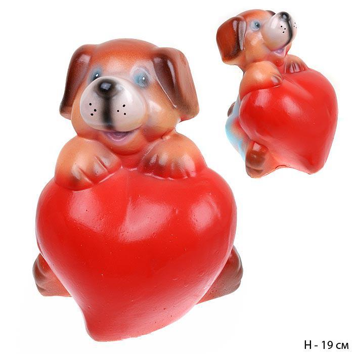 Копилка Собачка с большим сердцем 21 см / 801167 / без упаковки