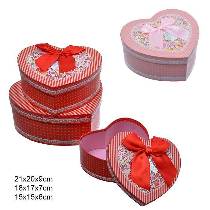 Коробка подарочная 3 штуки Сердце / XH50327 /уп 36/ гирлянда