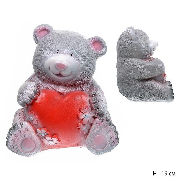 Копилка Медведь с сердцем большой серый 18 см / 801177 / без упаковки