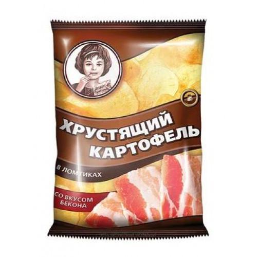 «Хрустящий картофель», чипсы со вкусом бекона, произведены из свежего картофеля, 160 гр.