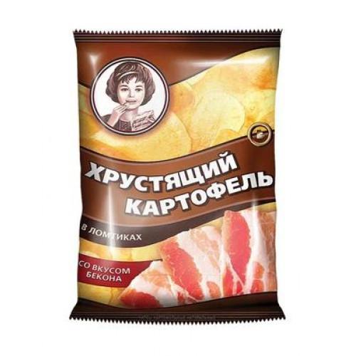 «Хрустящий картофель», чипсы со вкусом бекона, произведены из свежего картофеля, 40 гр.