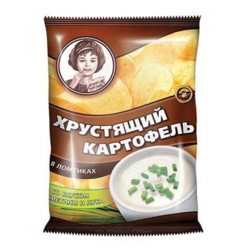 «Хрустящий картофель», чипсы со вкусом сметаны и лука, произведены из свежего картофеля, 40 гр.