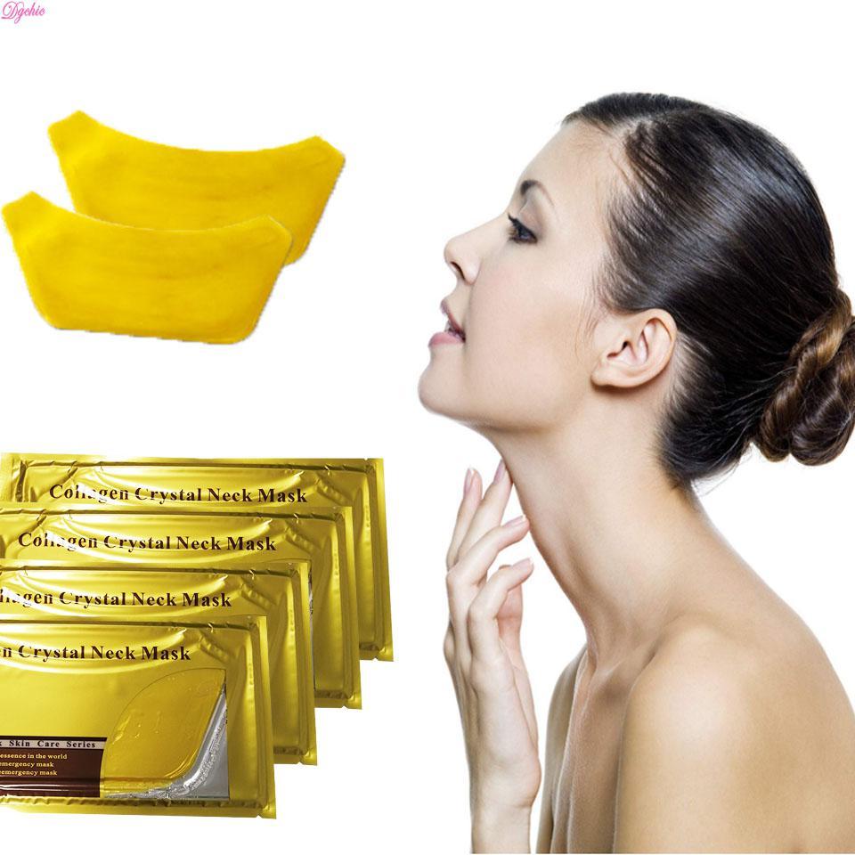Маска ЗОЛОТО для ШЕИ коллагеновая Gold Crystal Neck Mask