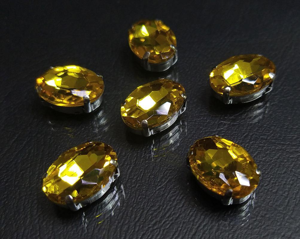 ОЦ004НН1014 Хрустальные стразы в цапах овальной формы, желтый 10х14 мм, 5 шт. оптом