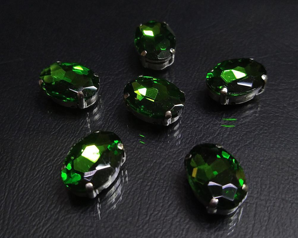 ОЦ008НН1014 Хрустальные стразы в цапах овальной формы, зеленый 10х14 мм, 5 шт. оптом